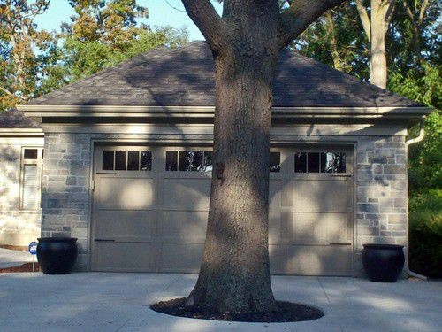tree in front of garage door